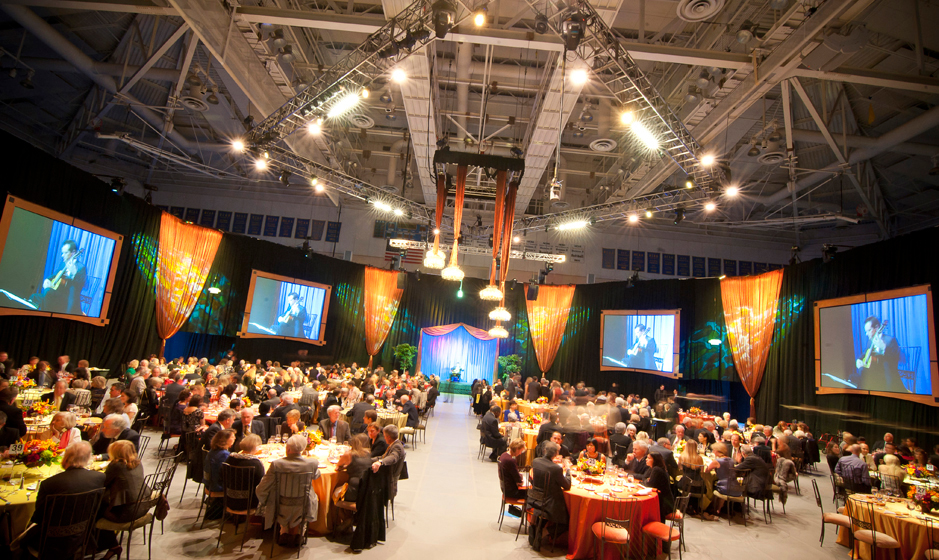 The campus's RIMAC Arena was transformed for Founders' Dinner, a ticketed event to benefit UC San Diego's Invent the Future student support campaign.