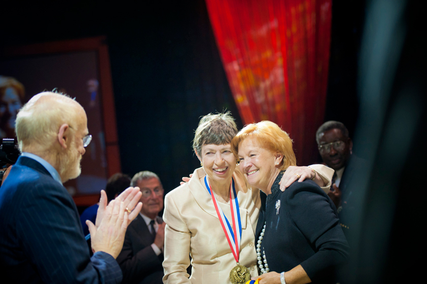Claudia Skaggs Luttrell, daughter of L.S. and Aline Skaggs, receives the Chancellor's Medal on behalf of L.S. and Aline Skaggs. One of the highest honors given by UC San Diego, the Chancellor's Medal recognizes exceptional service in support of the university's mission.
