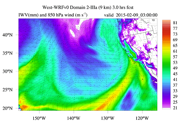 Image from a 15-hour forecast of IWV (Integrated Water Vapor)