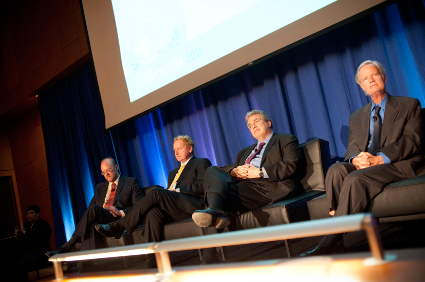 Featured speakers at the Founders' Symposium (from left) were George Tynan, associate vice chancellor for research; Steve Kay, dean of the Division of Biological Sciences; Peter Cowhey, dean of the School of International Relations and Pacific Studies; and Mark Thiemens, dean of the Division of Physical Sciences.