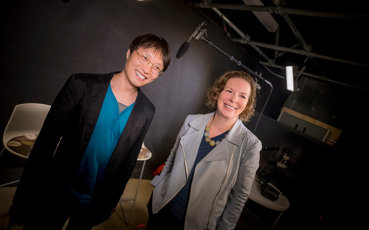 Liang and Narucki in studio