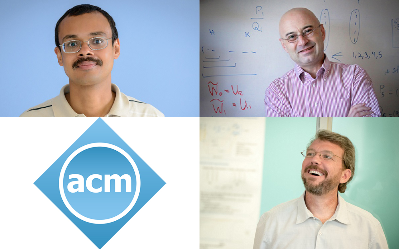individual portraits of three faculty and logo of ACM society