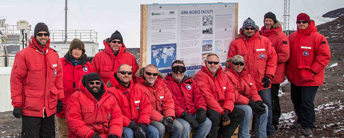 Image: AWARE team members at the ARM Mobile Facility, Antarctica
