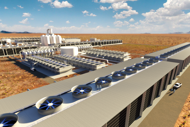 Rendering showing 'first look' of what will be the world's largest DAC plant. Courtesy of Carbon Engineering.