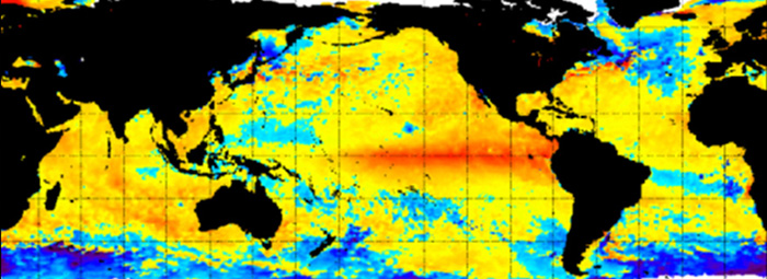 Global ocean temperatures map
