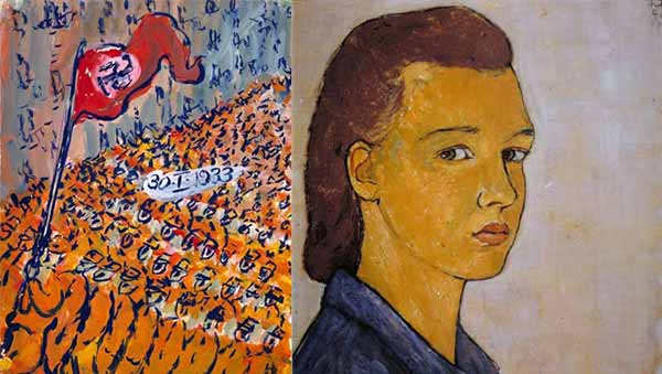 Image: 'Works by German-Jewish artist Charlotte Salomon who died at Auschwitz in 1943.'