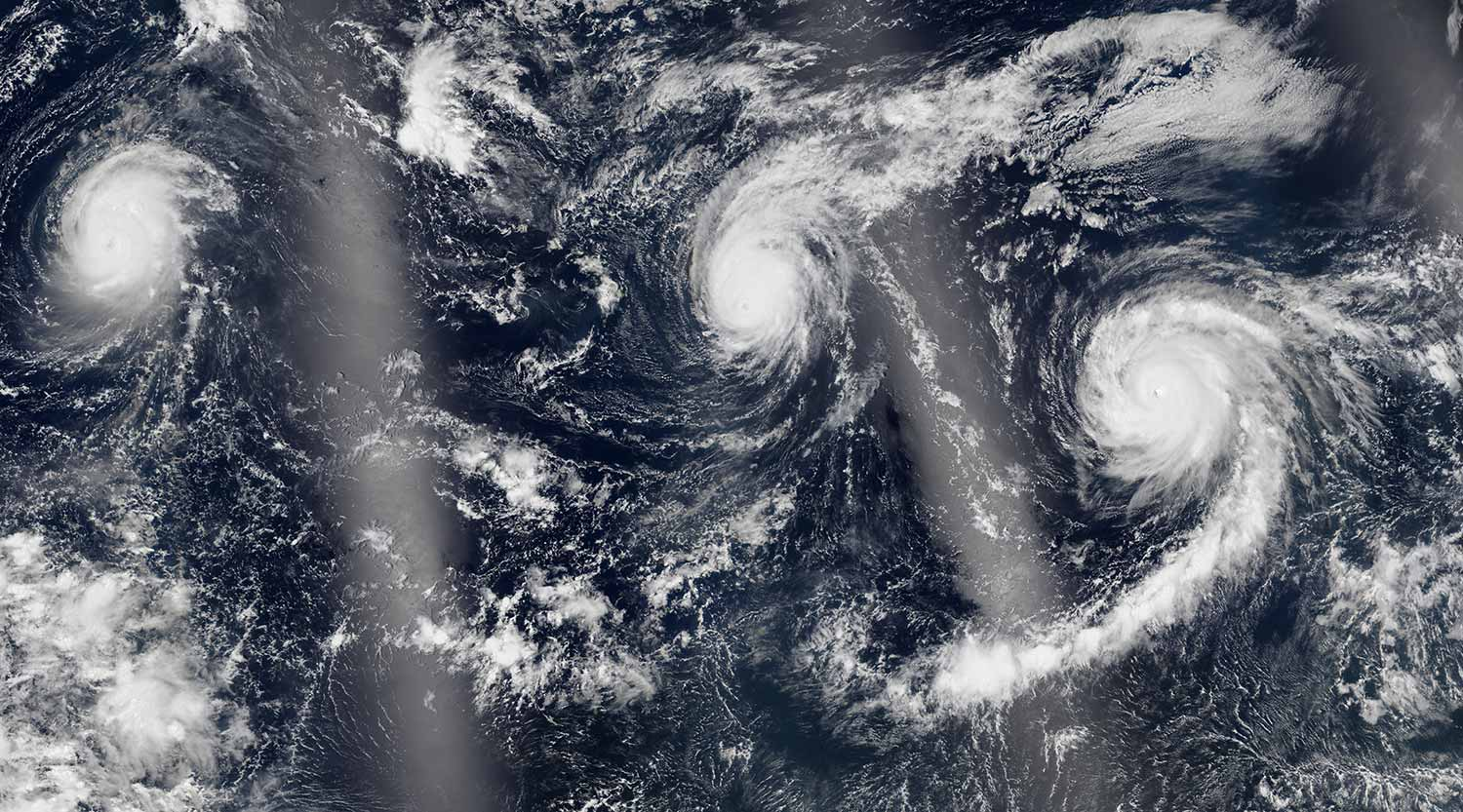 Image:For the first time in recorded history, three category-4 hurricanes formed in the Pacific Ocean in August. Photo: NASA Earth Observatory