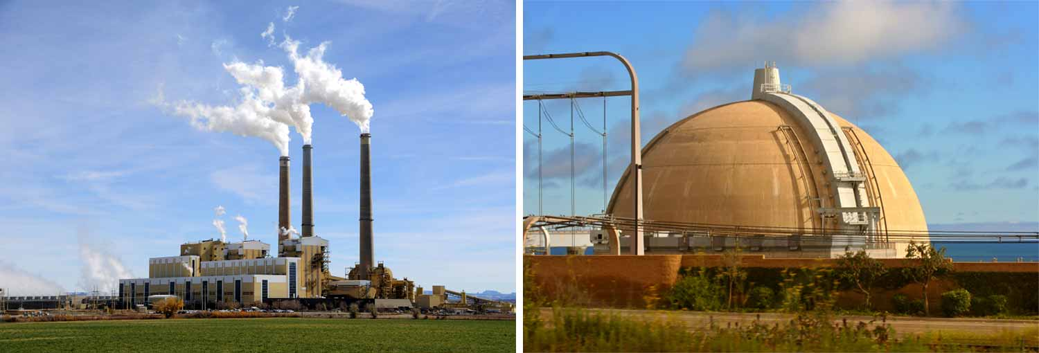 Image: a coal plant, at left, and a nuclear power plant, at right