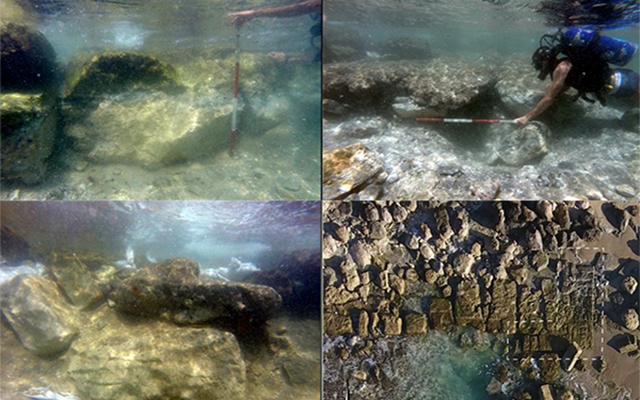 Four underwater images of archaeological sites in Dor, Israel, surveyed to establish relative sea level. Pictured are the bases terrestrial massive fortification walls and the floor level of passage in an Assyrian sea gate.