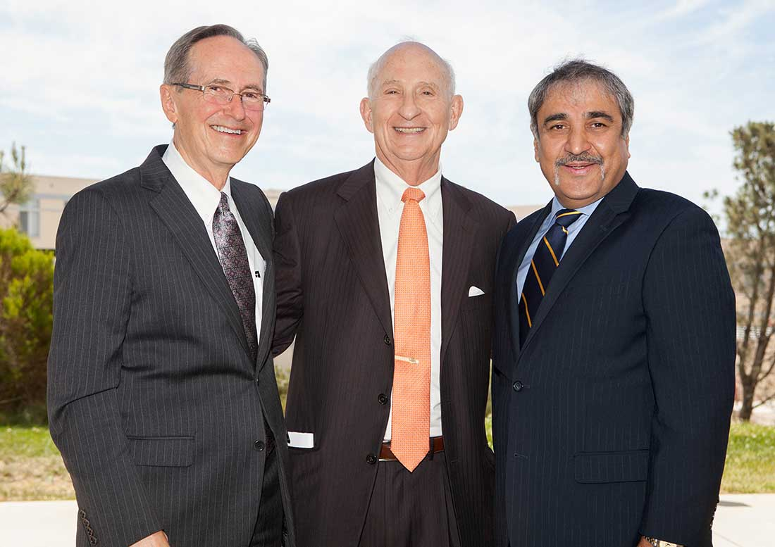 Photo: From left to right: Dean Sullivan, Ernest Rady and UC San Diego Chancellor Khosla
