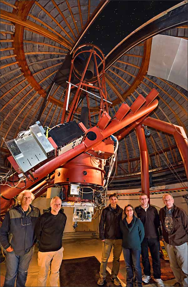 Photo: The NIROSETI team with their new infrared detector inside the dome at Lick Observatory