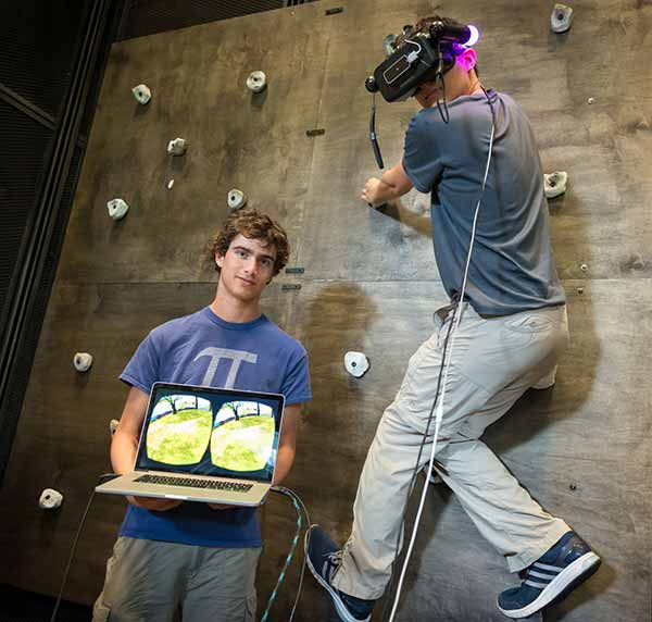 Image: Qualcomm Institute develop a mini-climbing wall paired with Oculus Rift head-mounted VR display.