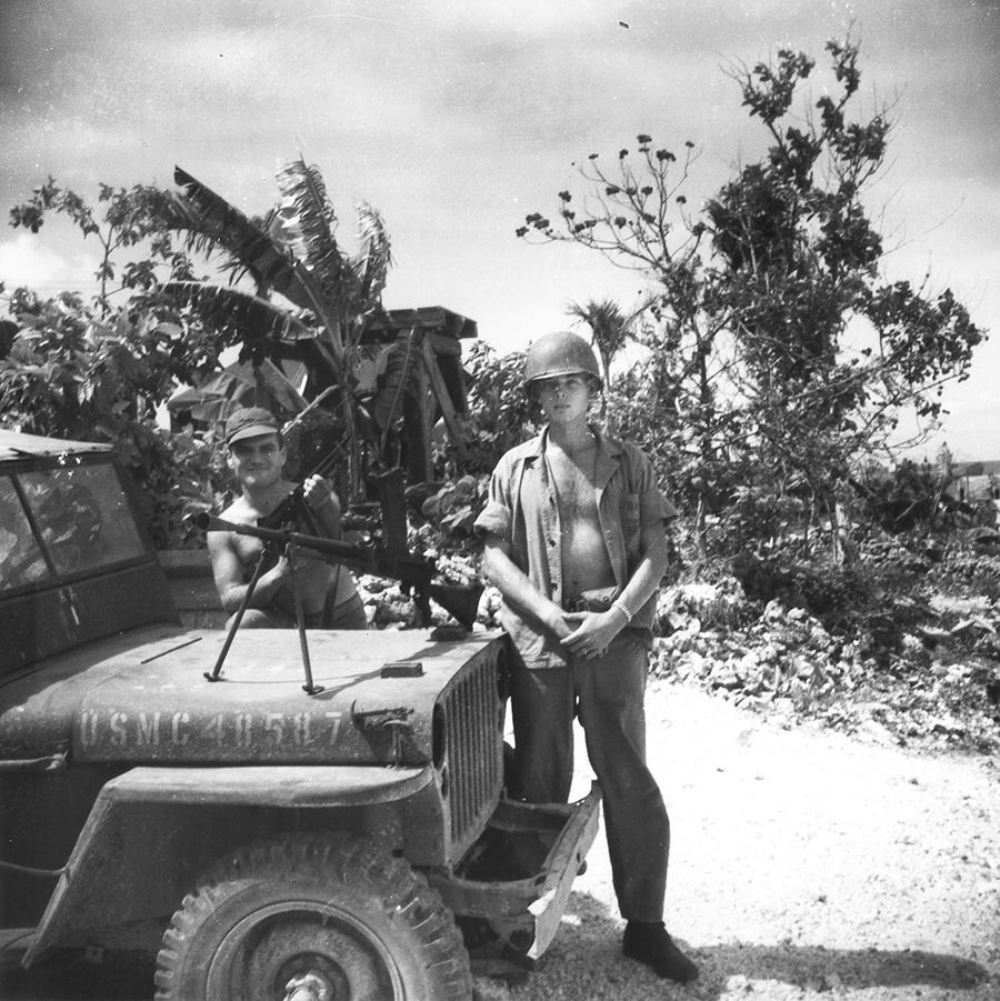 Image: Marine Capt. Doug Inman (right) during the invasion of the Pacific island of Angaur in 1944