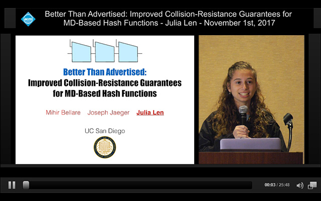 Still image from video stream with Powerpoint window and second window with video of CSE undergraduate Julia Len presenting to CCS 2017 in Dallas.