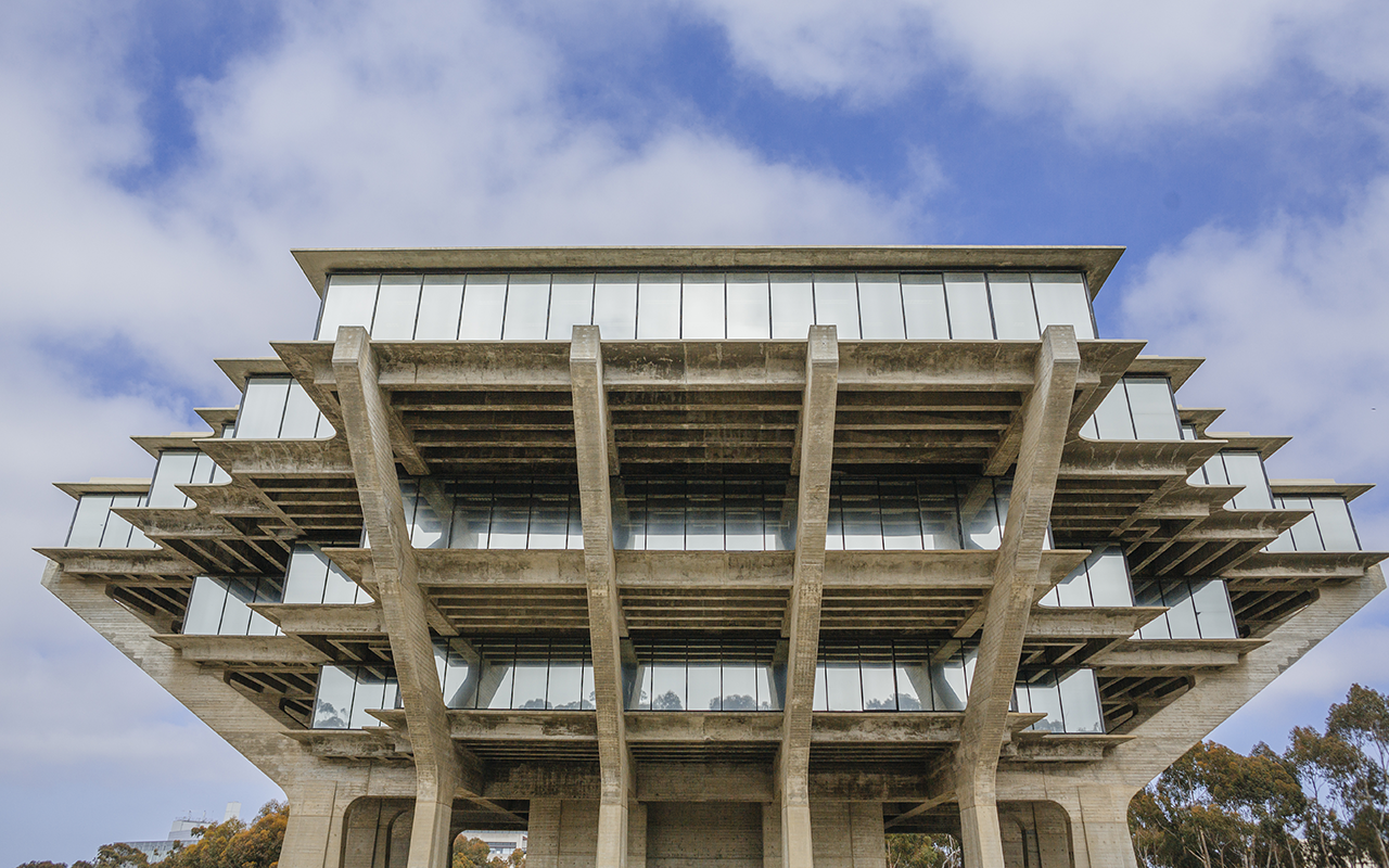 Geisel Library with blue skies overhead.