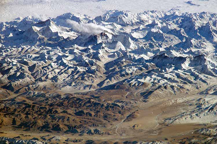 Image:  photograph of the Himalaya mountain range taken by astronauts on board the International Space Station