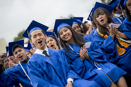 Students graduating from The Preuss School UC San Diego.