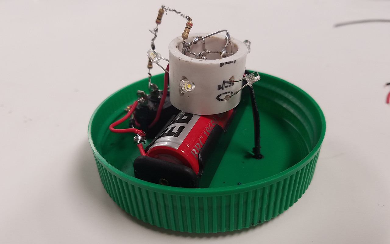 The circuitry of the solar lantern with its plastic encasing removed.