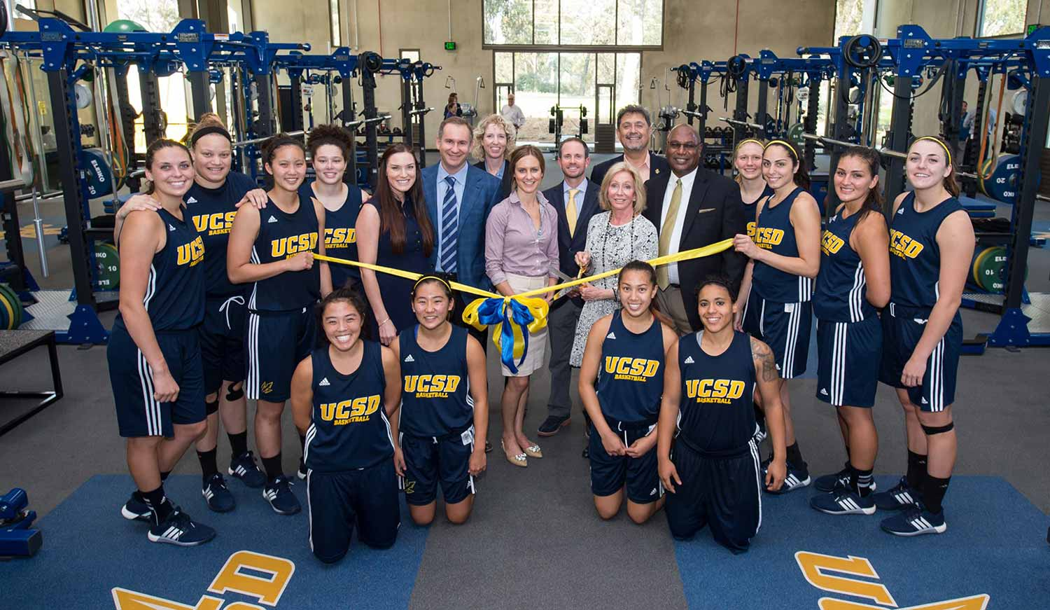 Image: Members of the Spanos family attended a ribbon cutting with UC San Diego staff and student-athletes.