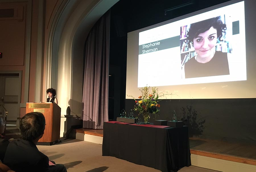 Image: Stephanie Sherman accepting the President's Award for Art & Activism at the National Museum of Women in the Arts