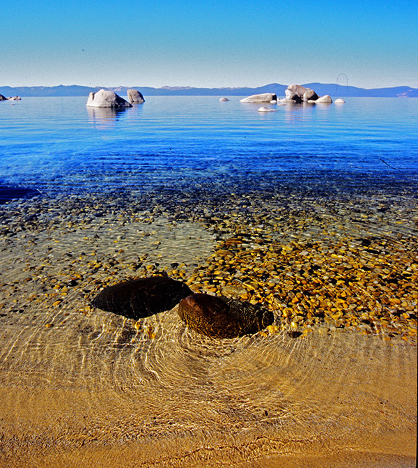 Photo: Tahoe shore and mountains