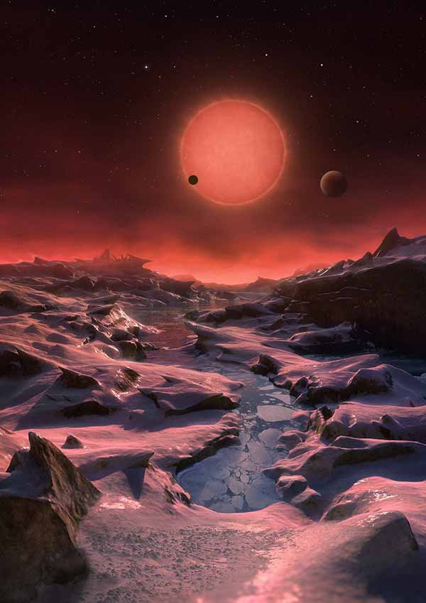 Image: Artist's impression of the system as seen from the surface of the outer planet