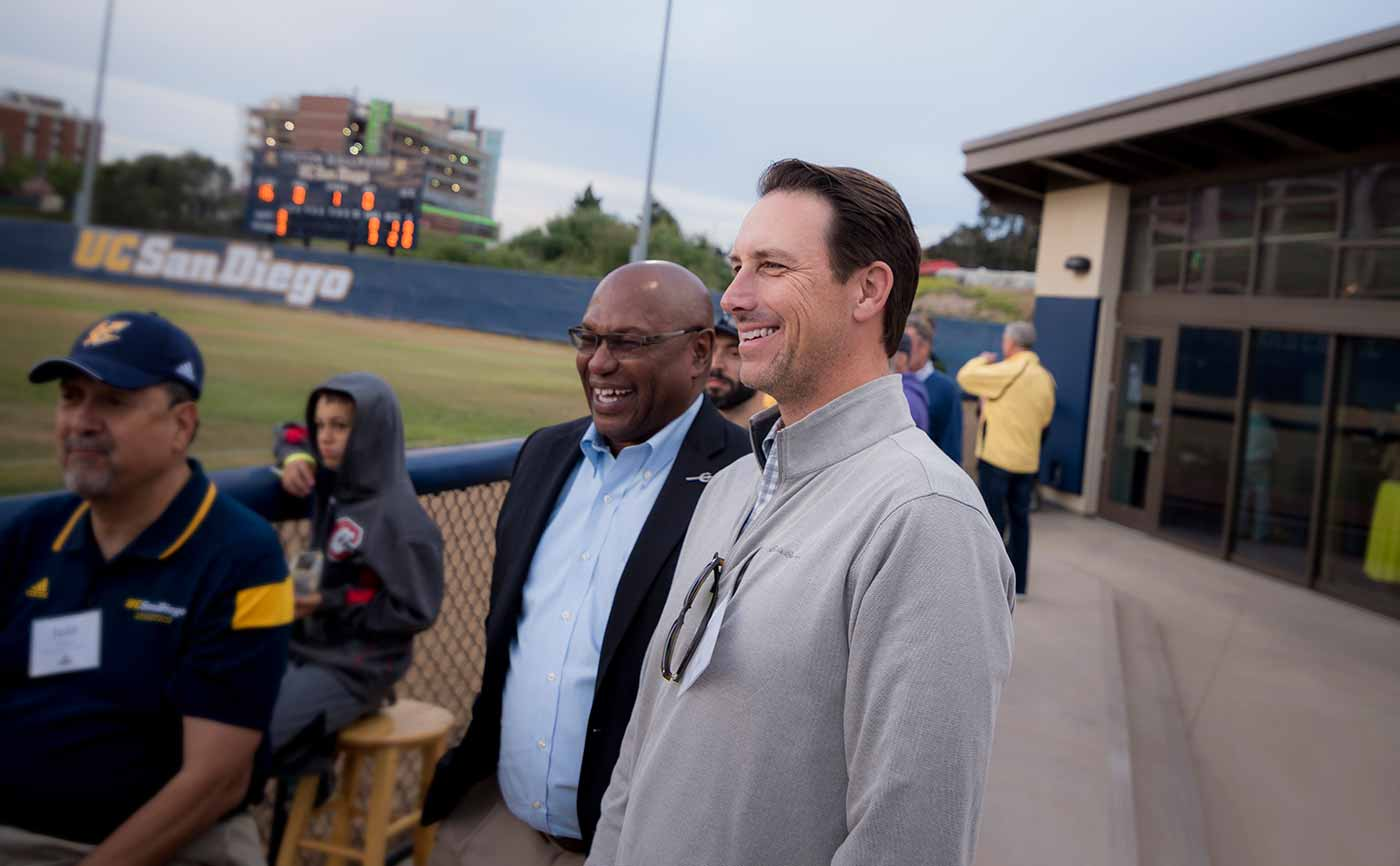 Image:Former Triton pitcher Rick Nowak, '90 and Director of Athletics Earl W. Edwards