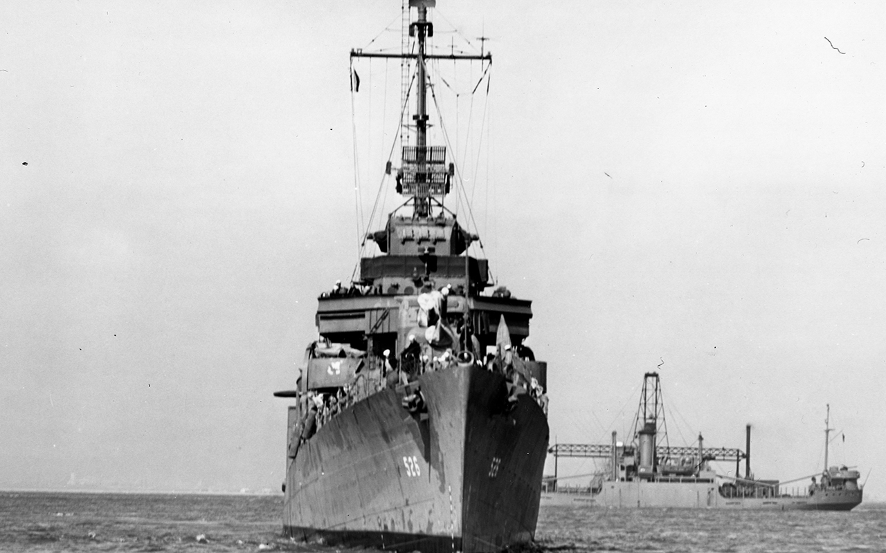 Photo of USS Abner Read taken in 1943 prior to sinking of its stern section in the Aleutian islands