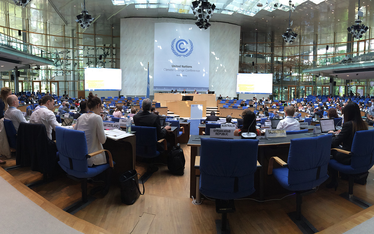 Negotiators at a 2015 UNFCCC