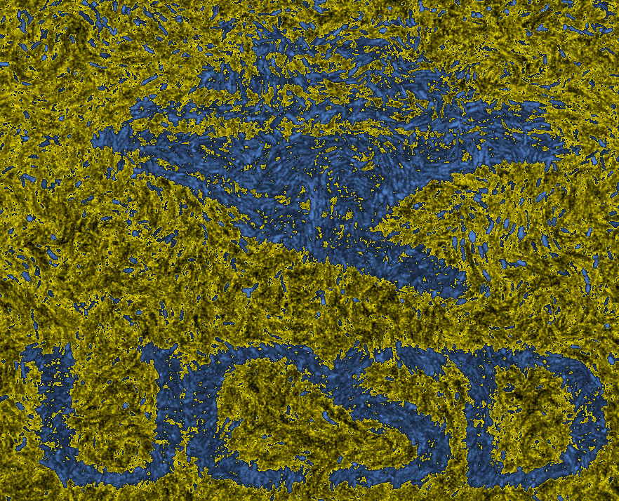 UCSD logo made of memory pattern with bacteria.