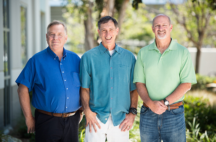 UC San Diego alumnus Steve Hart, Viasat Executive Vice President and Chief Technology Officer; Mark Dankberg, Viasat Chairman of the Board and Chief Executive Officer;  and UC San Diego Alumnus Mark Miller, Viasat Executive Vice President and Chief Technical Officer.