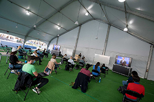 UC San Diego installed several large tents to hold classes outdoors.