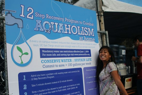 Photo: a student, staff and faculty group on campus, encourages water conservation