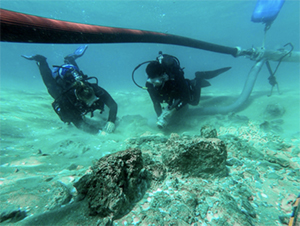 Science divers use an underwater dredge system to vacuum away sand from the ruins of a settlement wall.