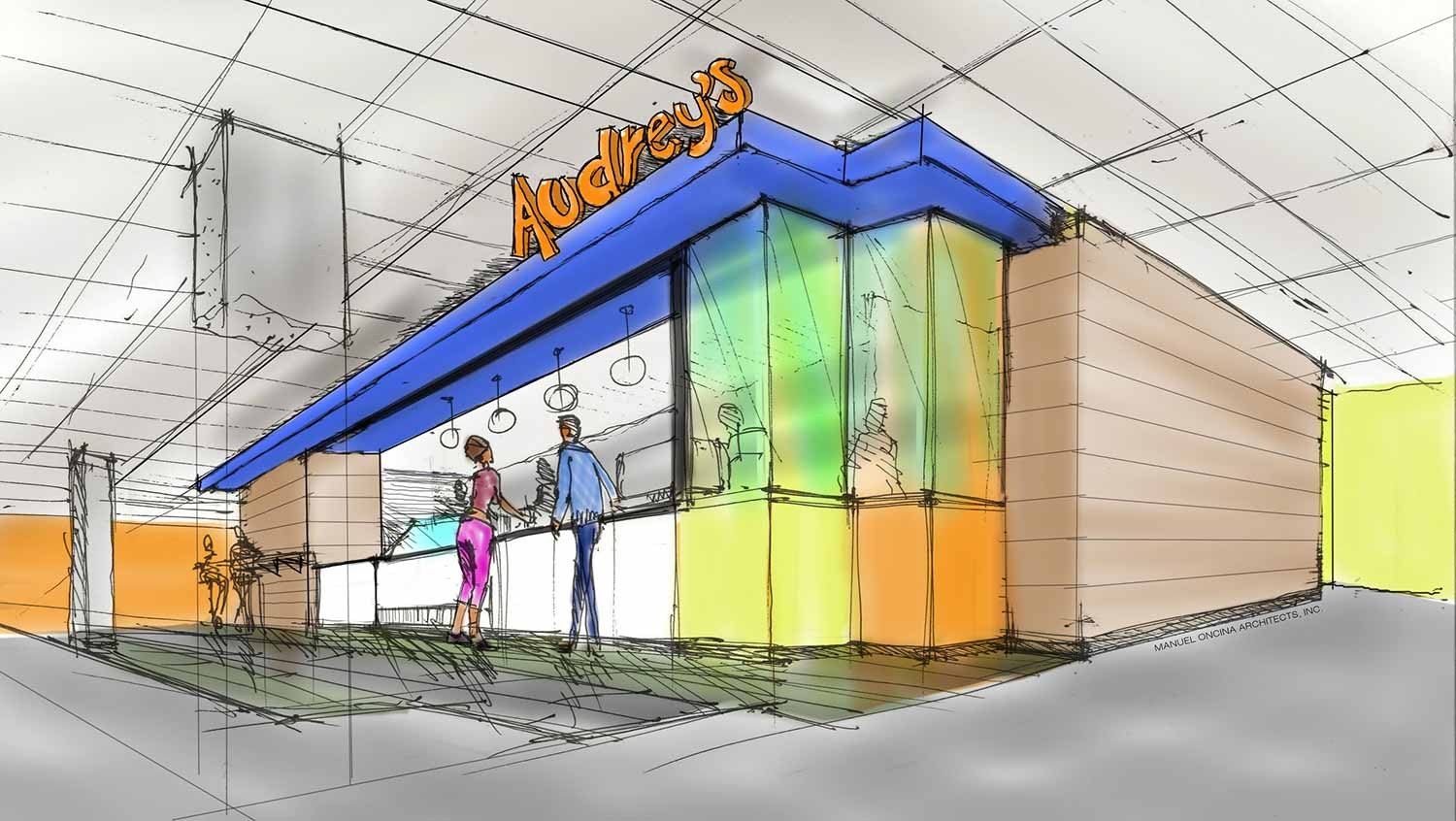 Image: A working drawing of what the café space will look like as of now.
