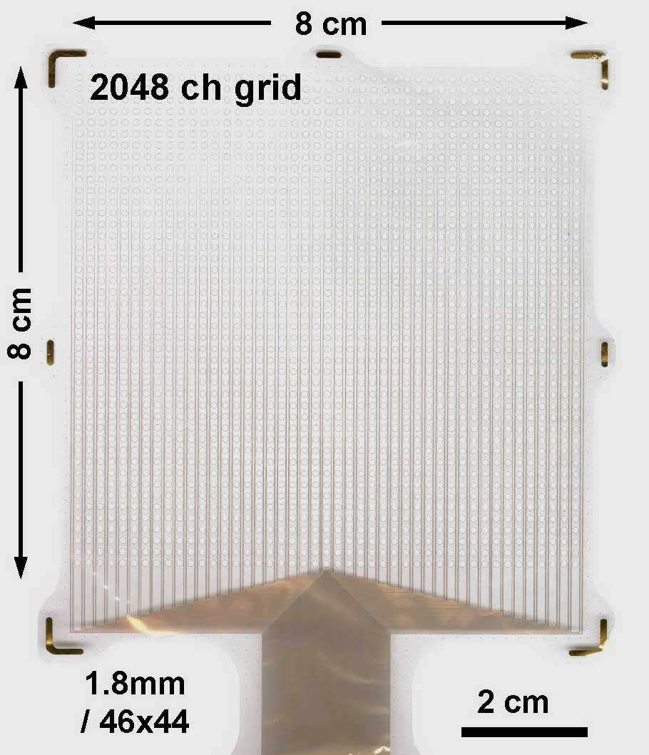 Image of flexible mats of closely spaced sensors being developed at UC San Diego.