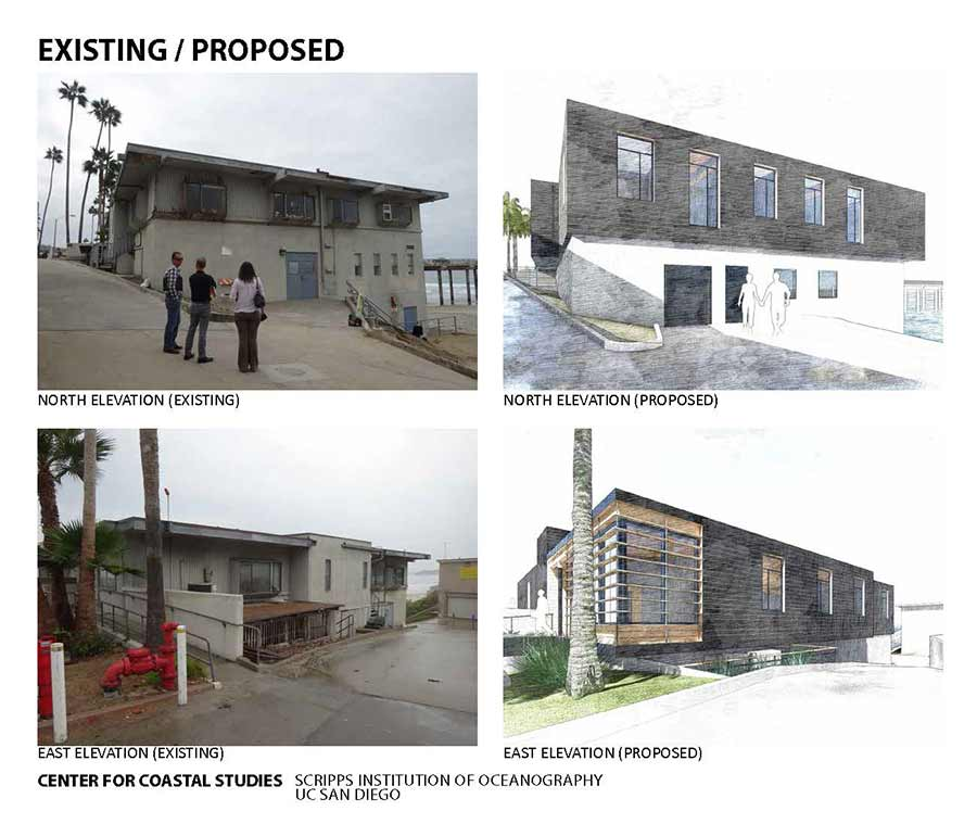 existing versus proposed building for center coastal studies