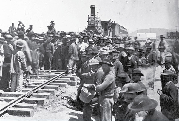 Image: Chinese laying the last rail on May 10, 1869