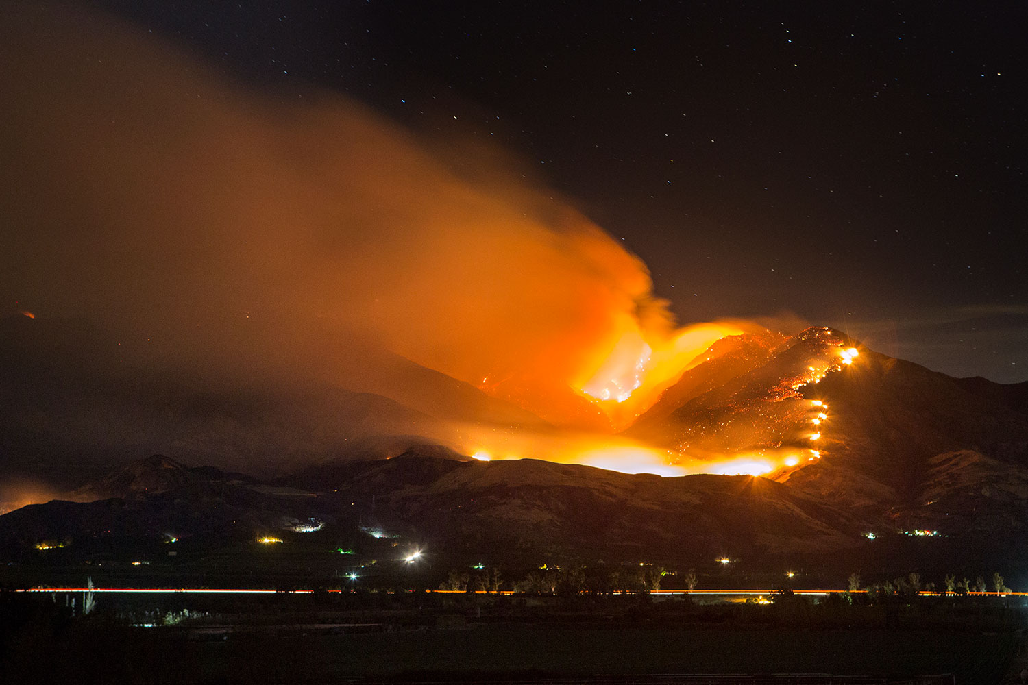 Fire on mountain in California
