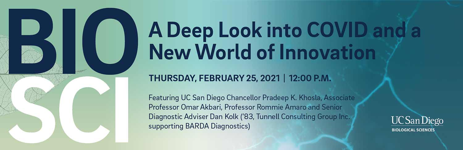 A Deep Look into COVID and a New World of Innovation. Feb. 25 ant 12:00 p.m. graphic.