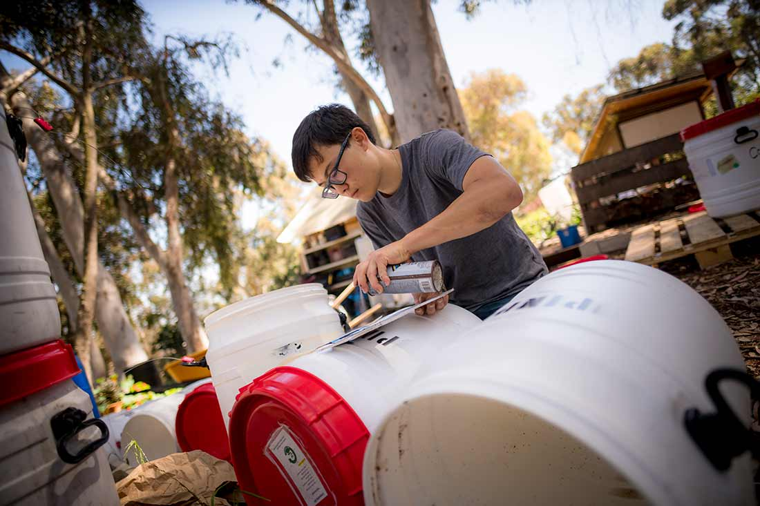UC San Diego student working on urban sustainable agriculture