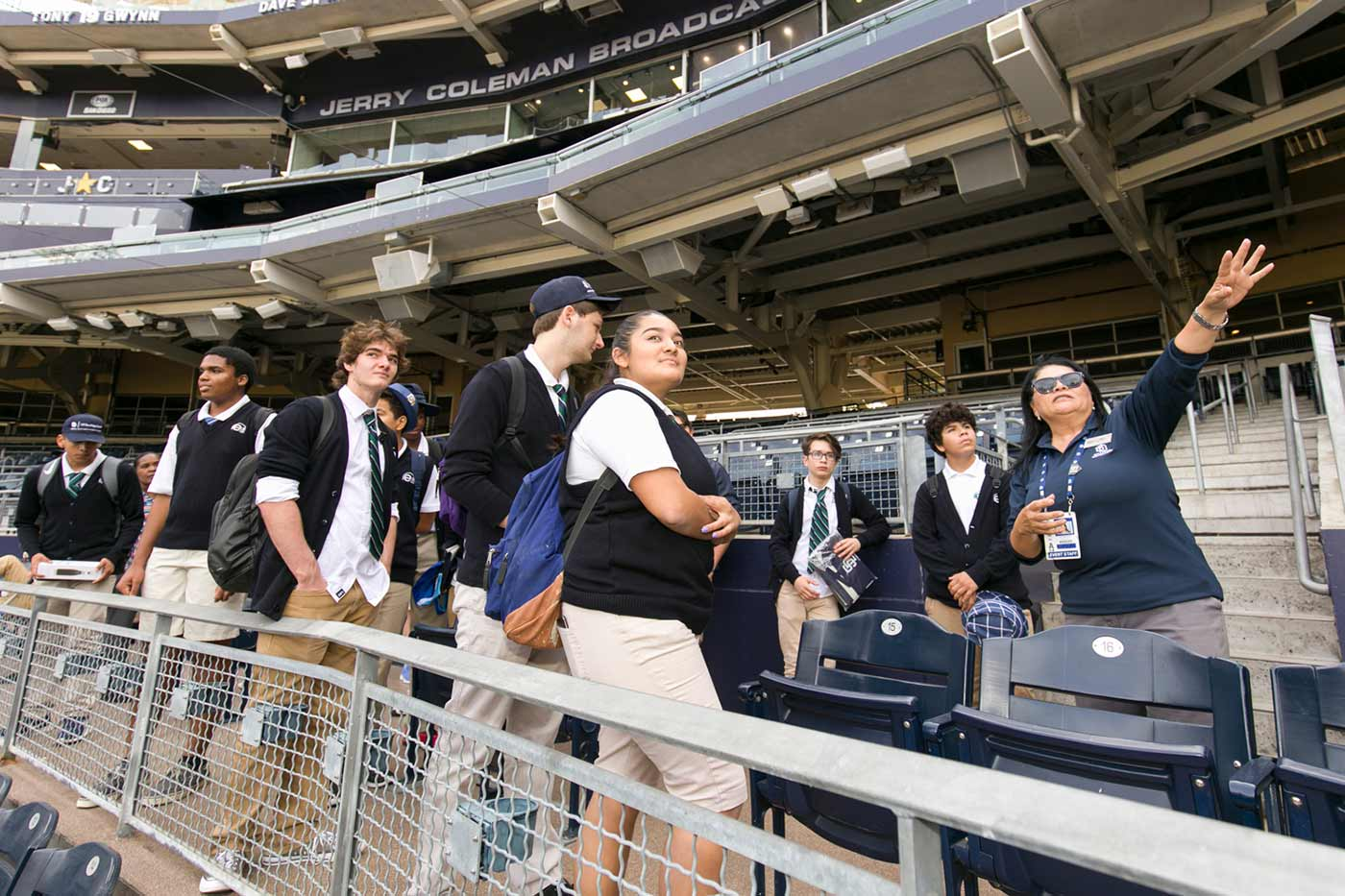 e3 Civic High scholars tour of Petco Park