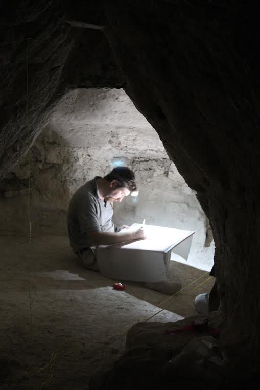 Thomas Garrison of USC conducts traditional archaeological documentation