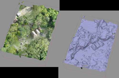 A 3D rendering of aerial imagery