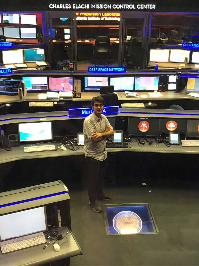 Alimo at JPL's mission control center.