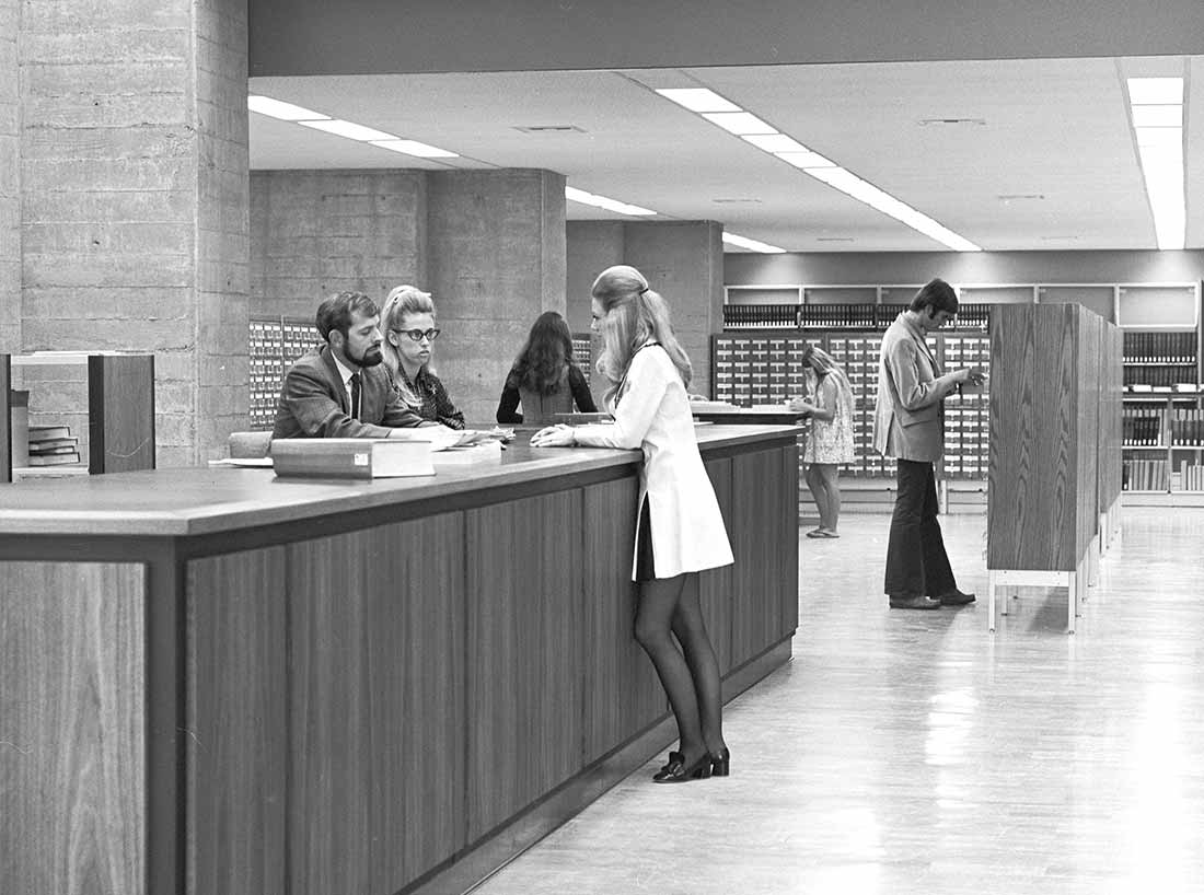 circulation desk and card catalog at the UC San Diego Central University Library in 1970.