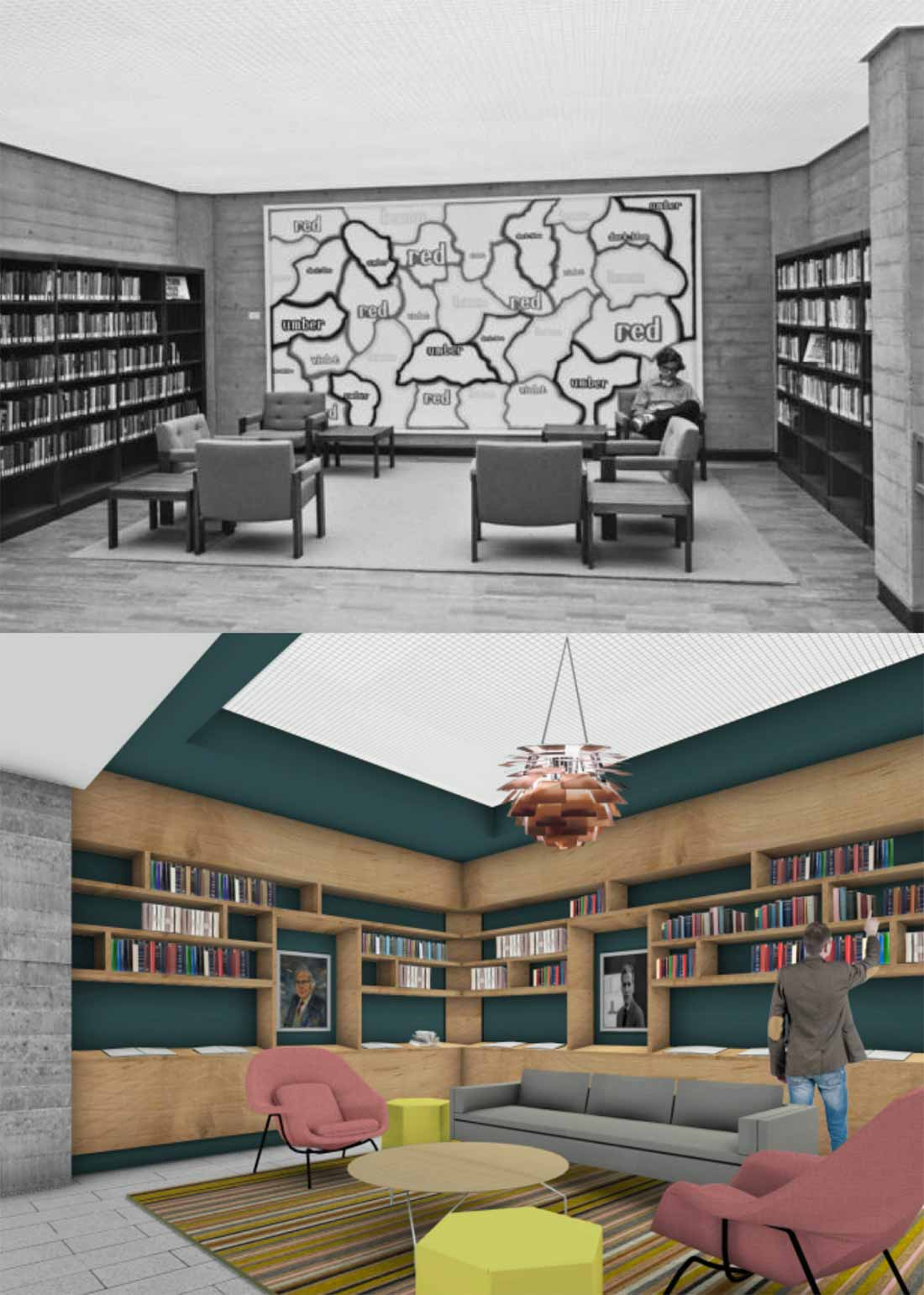"Original photo and future draft rendering of the ""meet spot"" at Geisel Library"