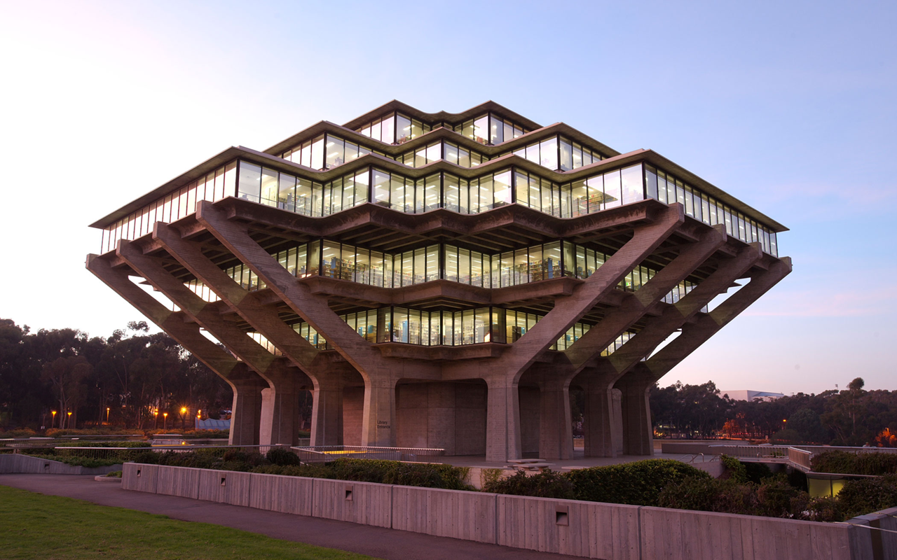Geisel Library at dusk.