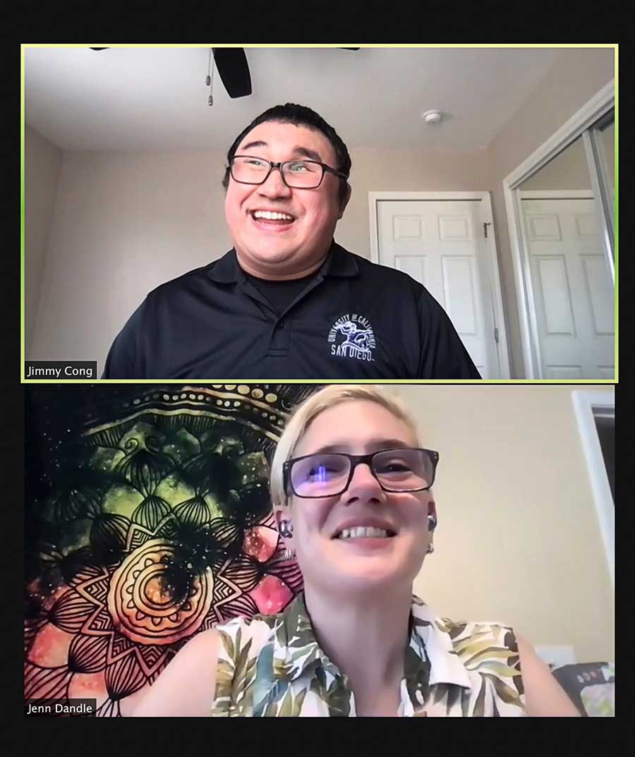 Jimmy Cong and Jenn Dandle hosting the Global Accessibility Awareness Fair on Zoom.