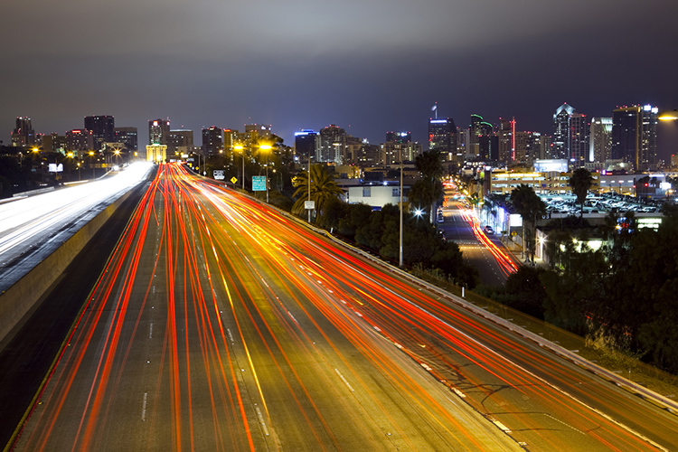 San Diego freeway and skyline at night